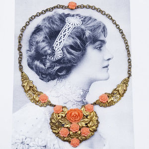 Vintage Thermoset and Brass floral necklace